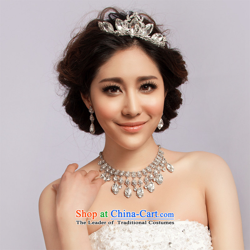 El drunken Yi Mei marriages jewelry Korean style kit crown headdress marriage water Drill Sets link bridal accessories hair accessories photo building three piece crown necklace earrings three piece crown earrings Necklace