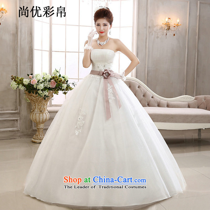 There is also a grand new optimization and stylish high-Lumbar Korean style large pregnant women wedding bow tie bride wedding dress xs1022 m White�M