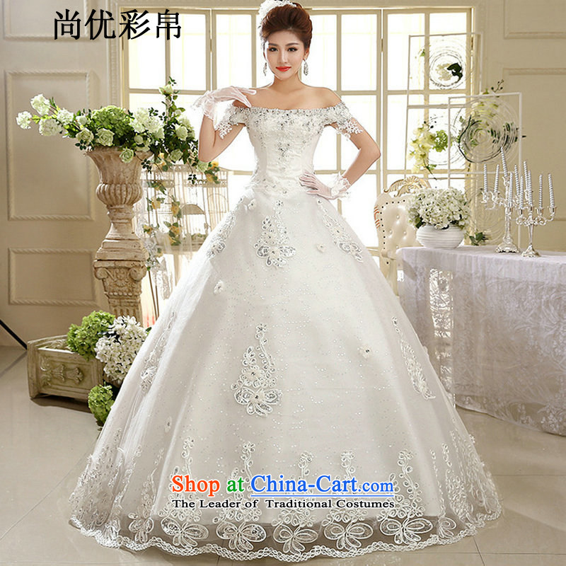 Wedding dresses are optimized color 8D new Korean word on chip align the shoulder diamonds to graphics thin bride wedding xs1023 m White?XL