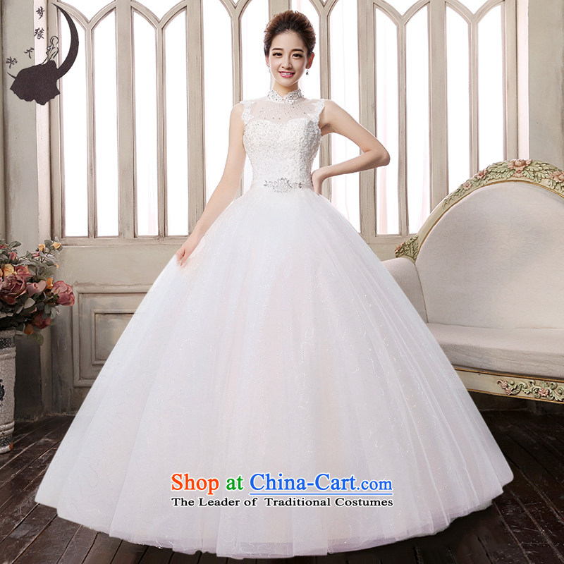 The leading edge of the wedding dresses Day 2015 autumn and winter new Korean word package your shoulders to wedding 1611 WhiteM 2.0 ft waist