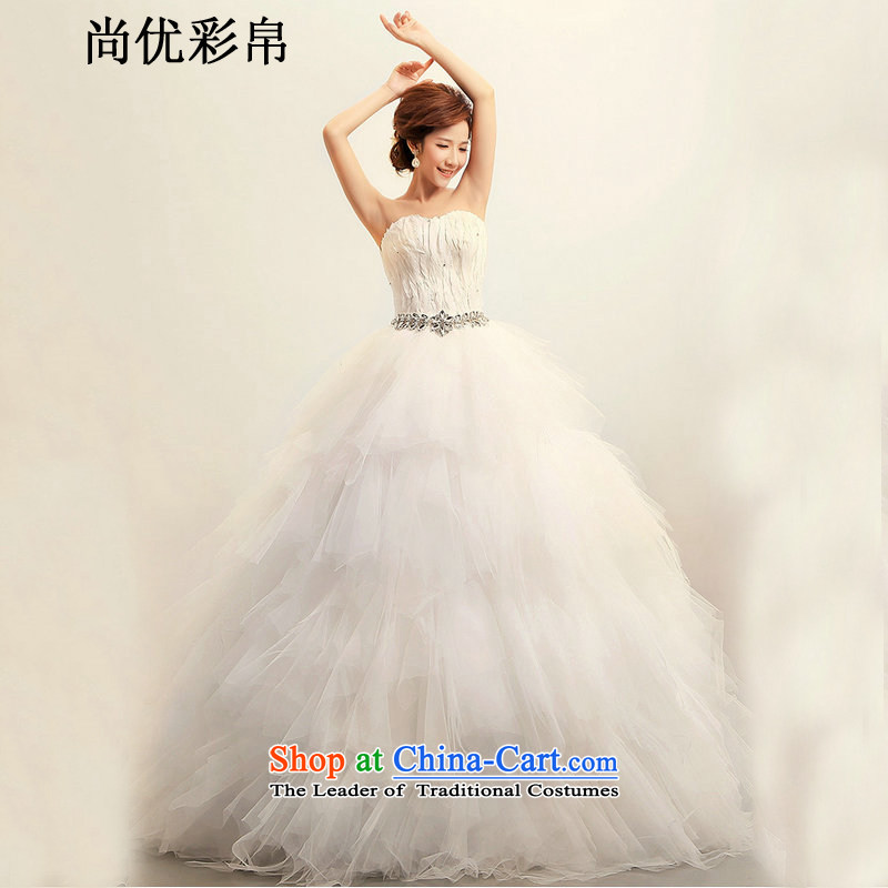 There is also a grand new optimized Korean Korean feather anointed chest Princess Bride marriage wedding dresses?xs1024?m White?M
