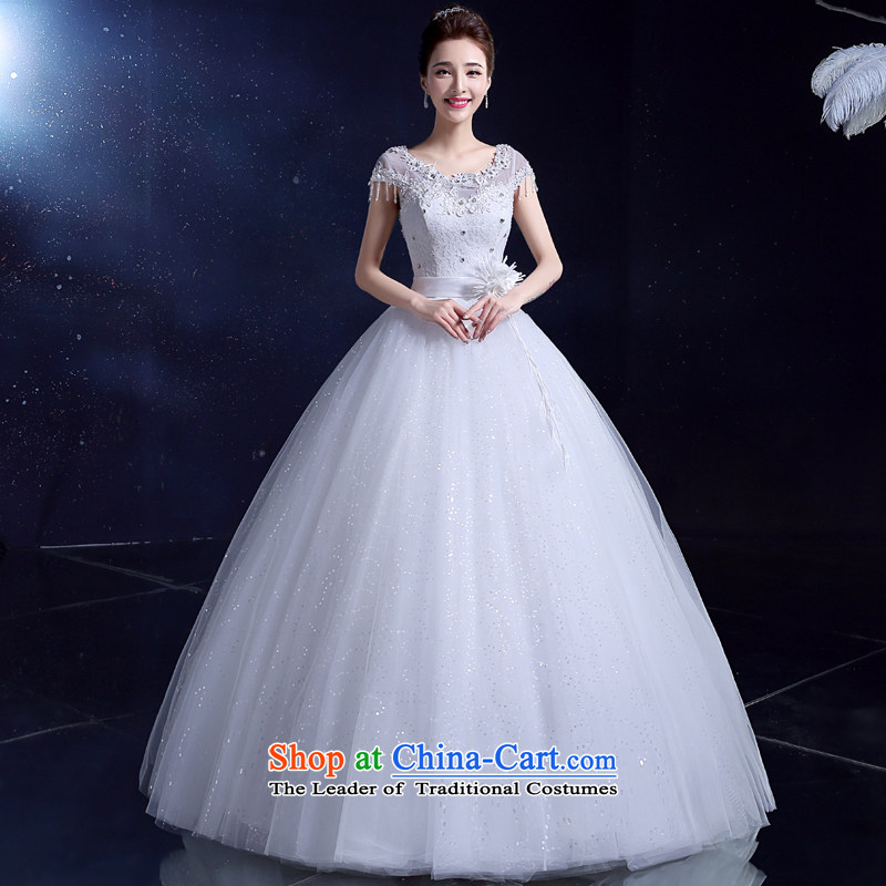 2015 Korean wedding dress white wedding dress bride wedding dress bows large services align to the new summer White 2XL