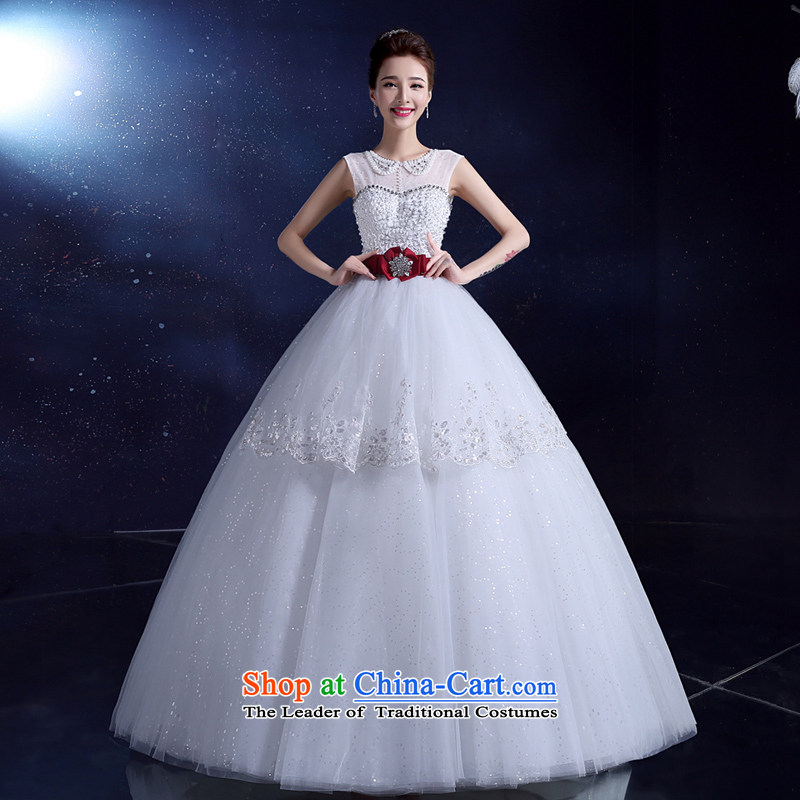 Wedding dress bride wedding dress uniform Korea bows 2015 wedding dress white summer to align the large Diamond White?L