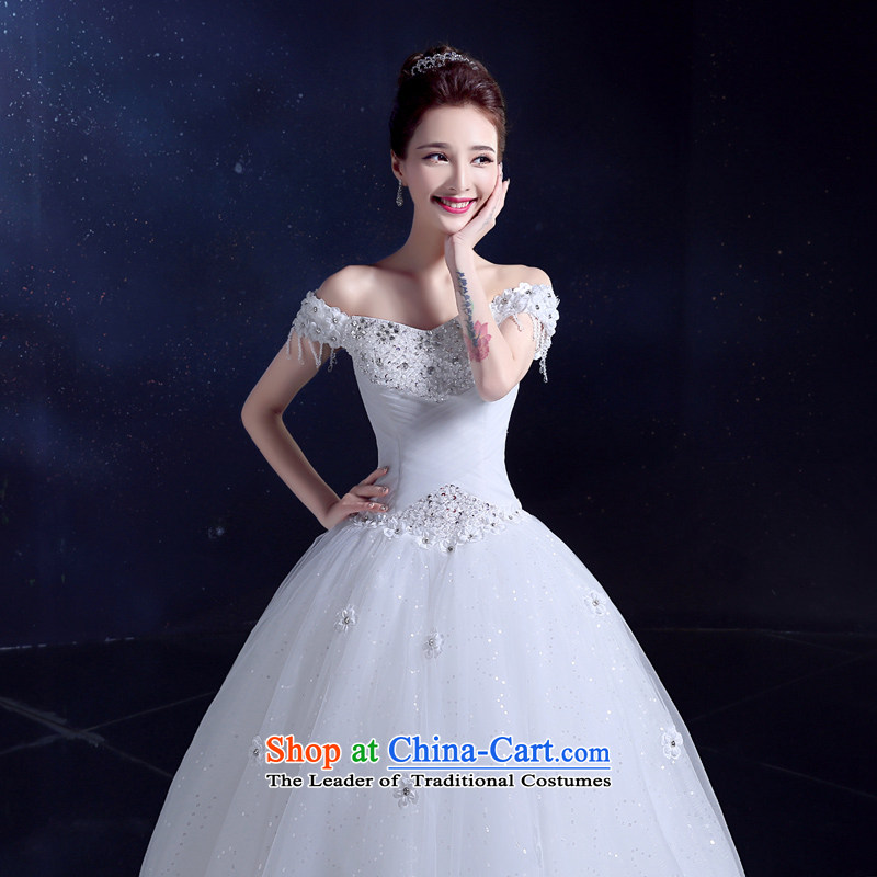 2015 Korean wedding wedding dress bows Service Bridal slotted shoulder white wedding dresses to align the large Diamond White?M