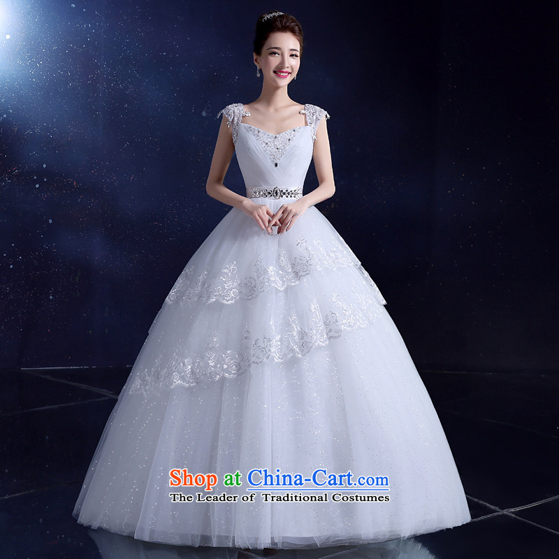 Wedding dress bride wedding dress 2015 Korean wedding dress to align the shoulders with a large white field shoulder the new white 2XL