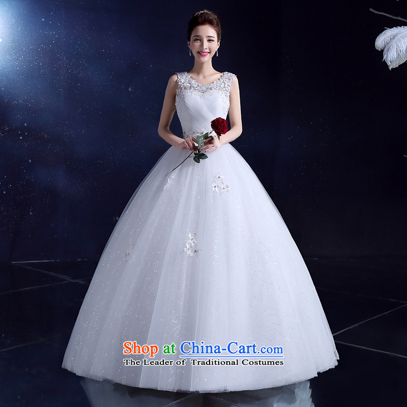 2015 Korean wedding dress white bride wedding dress wedding photography white summer to align the shoulder of the word lace white?L