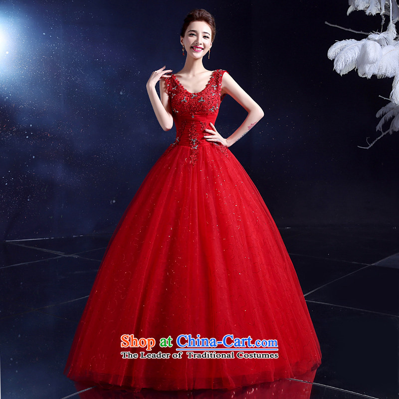 2015 Korean wedding dress bride wedding dress to align the summer shoulders and sexy deep V-Neck wedding dress lace red�S
