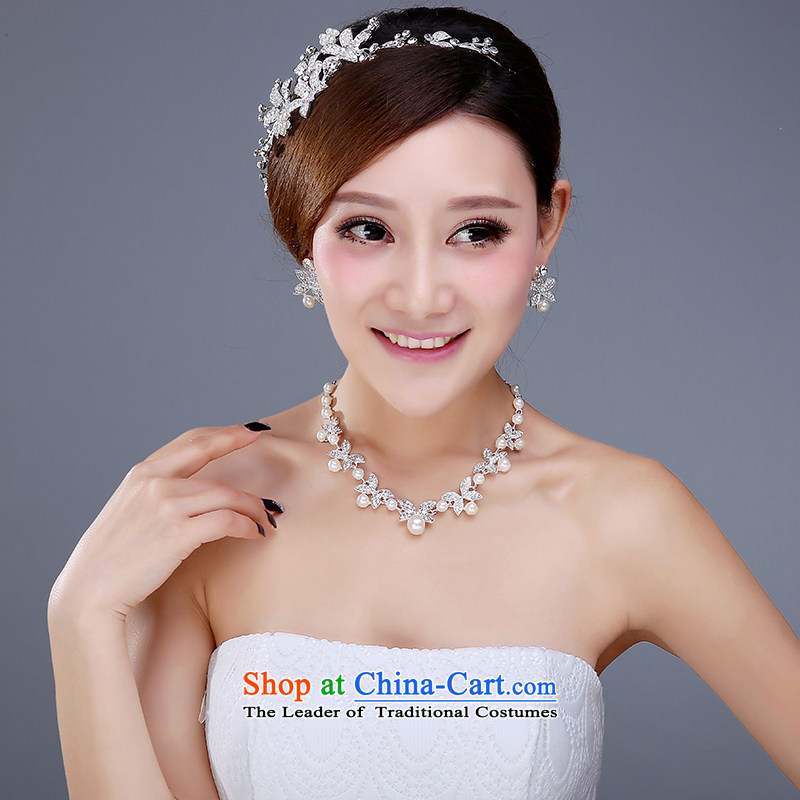 The bride crown three Kit Head Ornaments won wedding Jewelry Ornaments yarn hair accessories necklaces earrings wedding accessories female 3-piece set