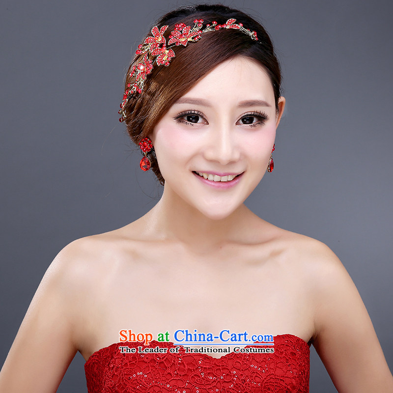Wedding dress bride hair decorations and ornaments red Jewelry marry wedding flower Korea wedding head accessories female hair accessories