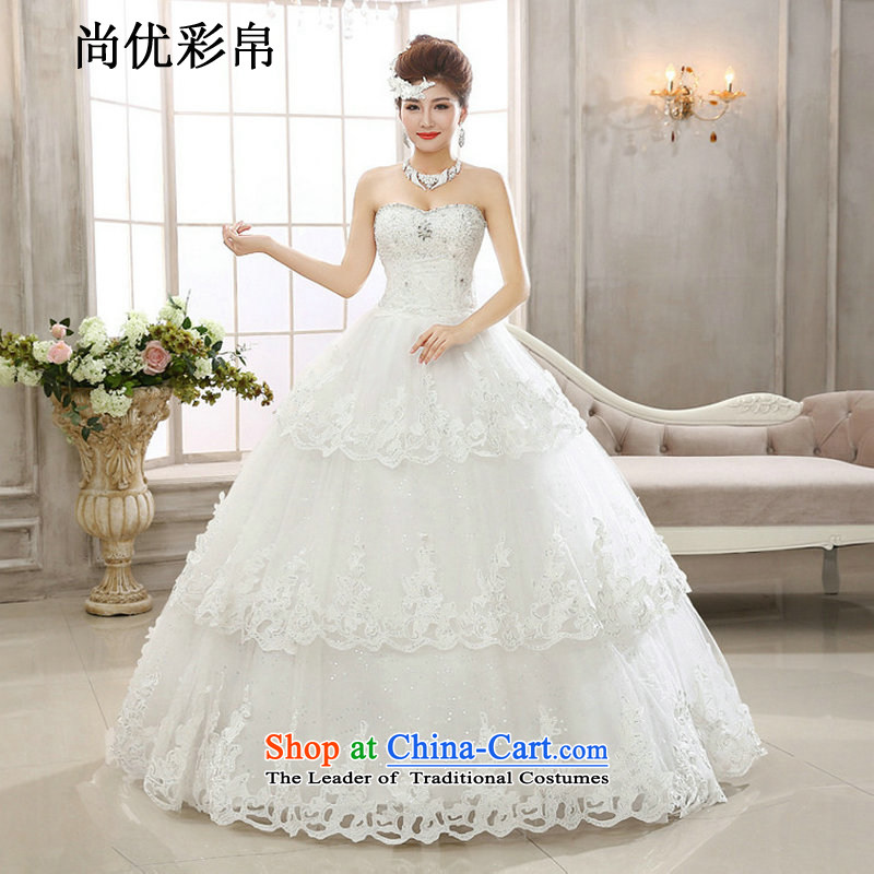 There is also a grand ultra-compact flash optimization Diamond Video thin wiping the Chest Sau San water drilling wedding dresses Korean continental princess lace xs2032 m White?L