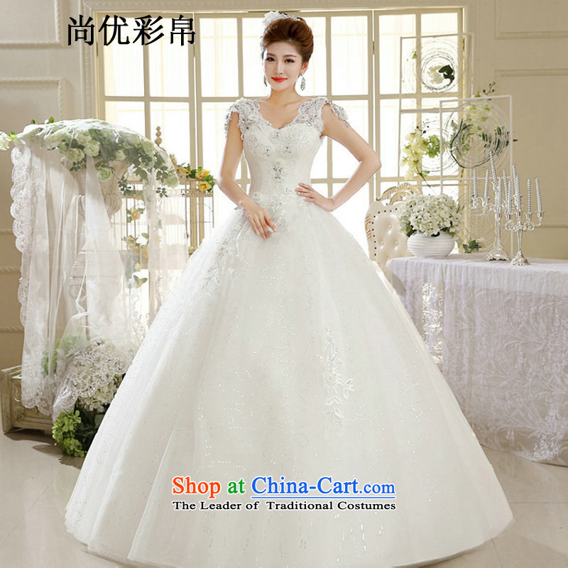 There is also optimized 8D summer female white bride to align the new Korean retro-V-Neck wedding dress stylish lace White�XXL xs1033)
