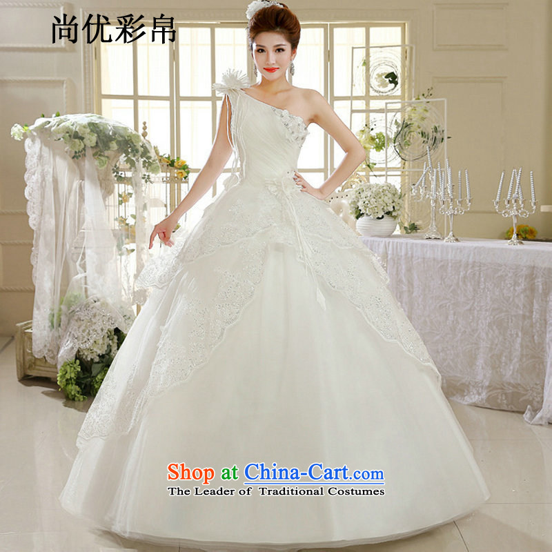 There is also optimized 8D wedding dresses shoulder the new white lace Korean fashion to align Spring Antique wedding dress xs1035 m White?S