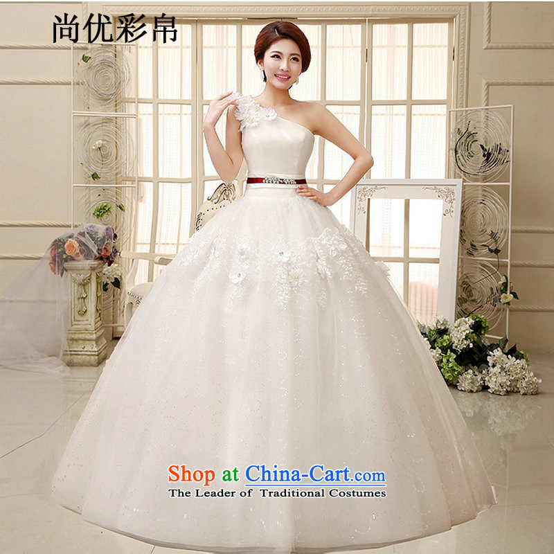 There is also optimized 8D Princess wedding dresses new larger anointed chest flower buds stylish manually embroidered straps to align xs1036 m White?XXL