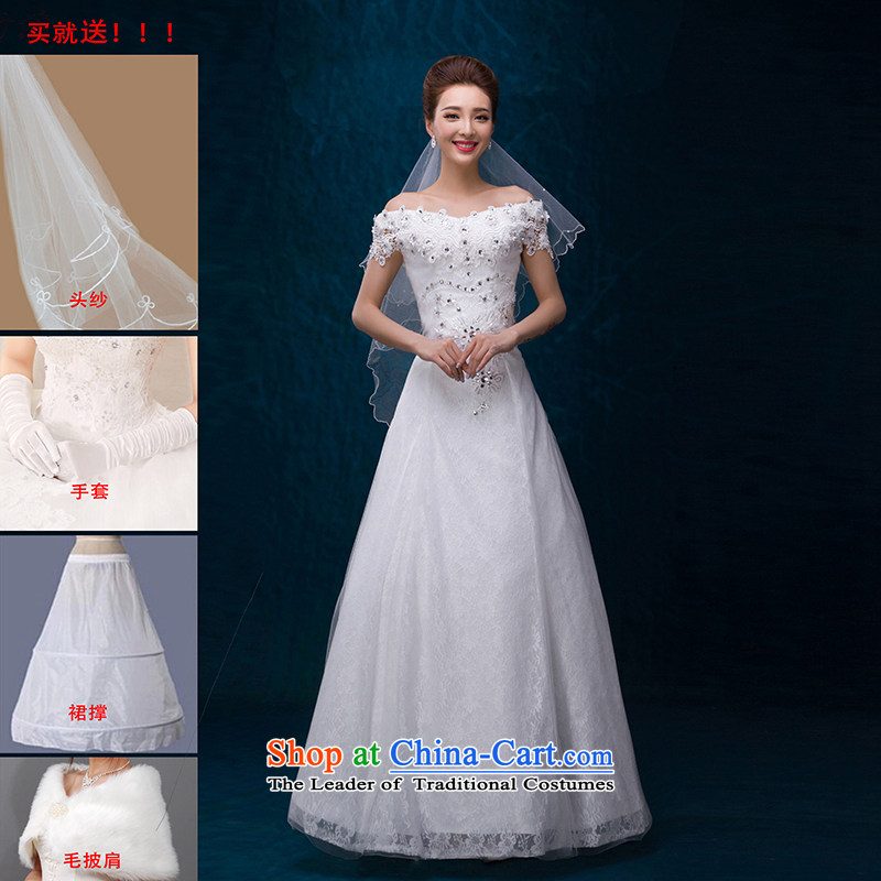 Summer 2015 new high-end wedding dress lace princess A skirt a field to align the shoulder straps Sau San Wedding White?M