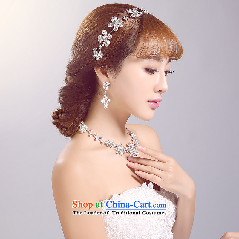 Ferrara 2015 new bride Head Ornaments necklaces ear ornaments kit white flowers irrepressible bride crown wedding accessories accessories white irrepressible Head Set