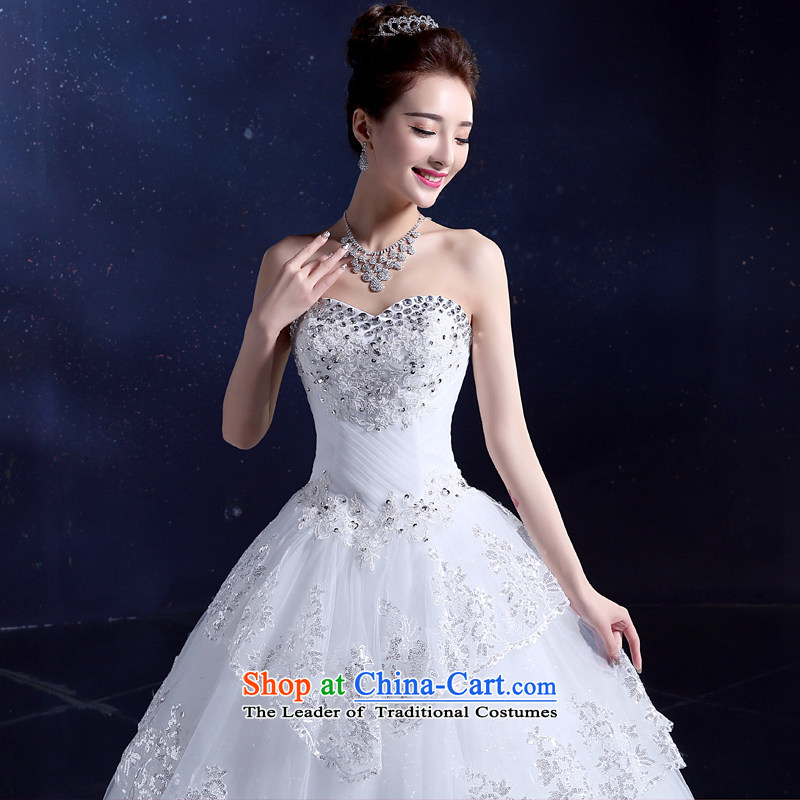 The privilege of serving-leung 2015 new wedding dresses and chest off-chip parquet diamond jewelry lace multi-level Korean to align the Sau San White�XXL