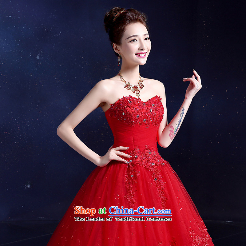 The privilege of serving-leung 2015 new alignment with Chest straps Korean lace on drill Sau San bride wedding dresses and stylish red?XL