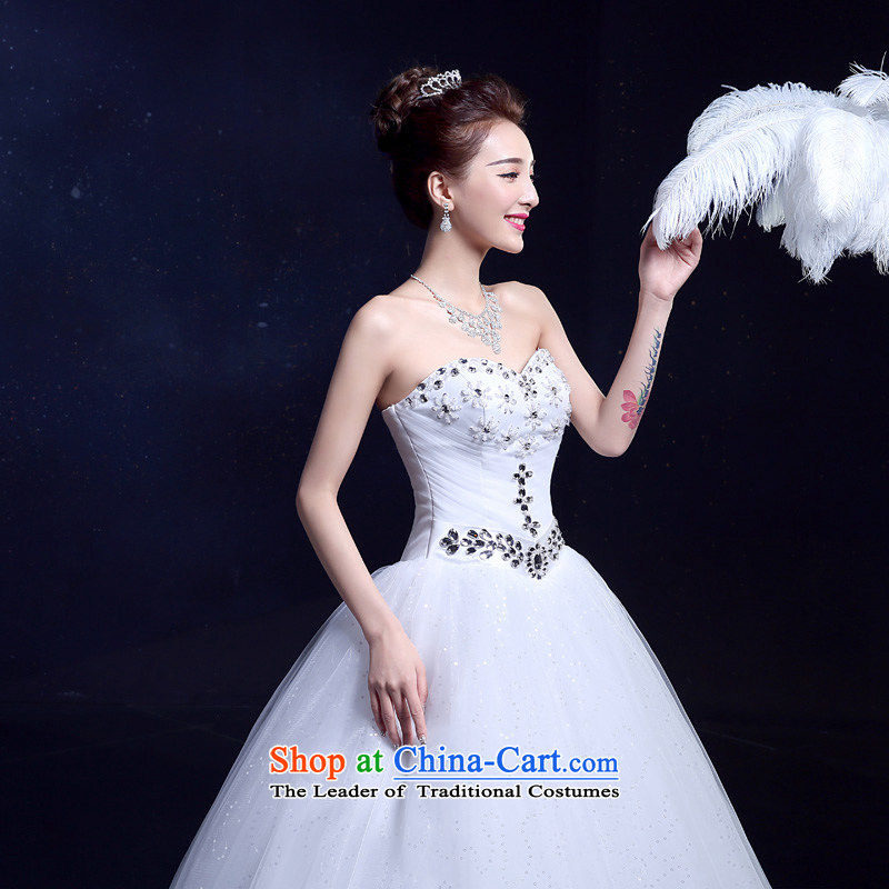 The privilege of serving-leung wedding dresses 2015 new summer Korean style with chest diamond align to bind with stylish Sau San video thin White?XXL