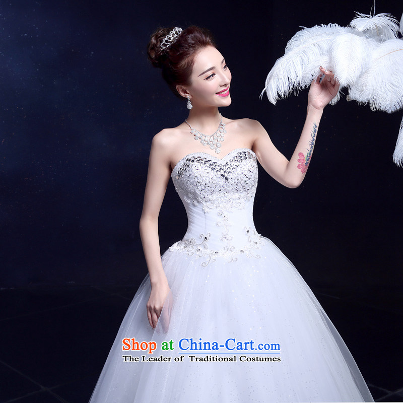 The privilege of serving-leung wedding dresses new bride anointed chest 2015 wedding Korean style to align graphics Sau San thin diamond wedding gown White?XXL