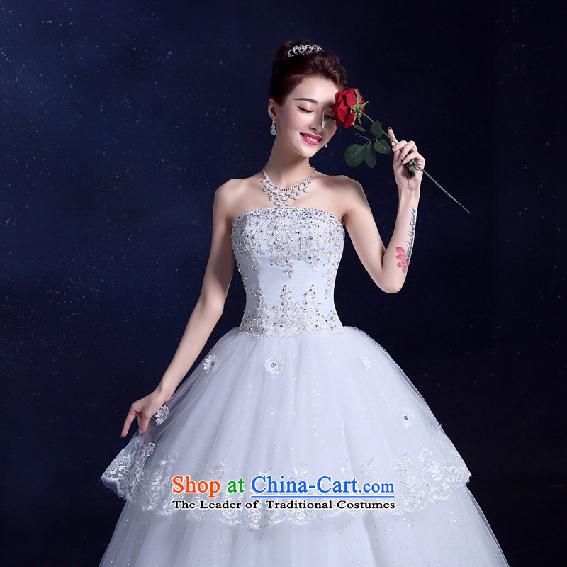 The privilege of serving-leung wedding dresses 2015 new summer Korean Modern graphics thin align Sau San with Chest straps Diamond White?XL