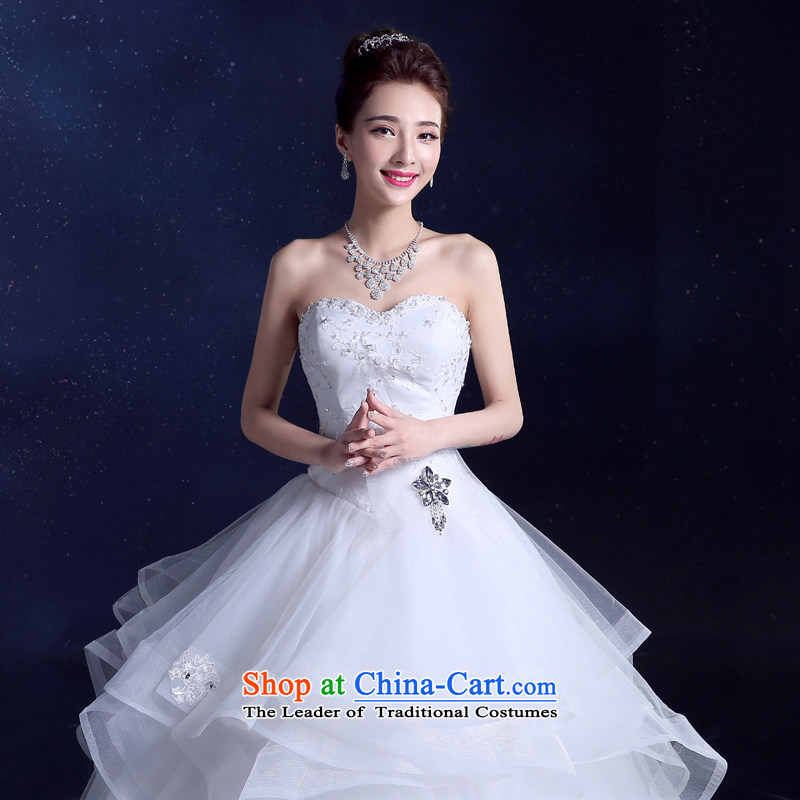 The privilege of serving the bride-leung wedding dresses 2015 New Sau San Bow Tie diamond bon bon yarn princess skirt to align the skirt White XL