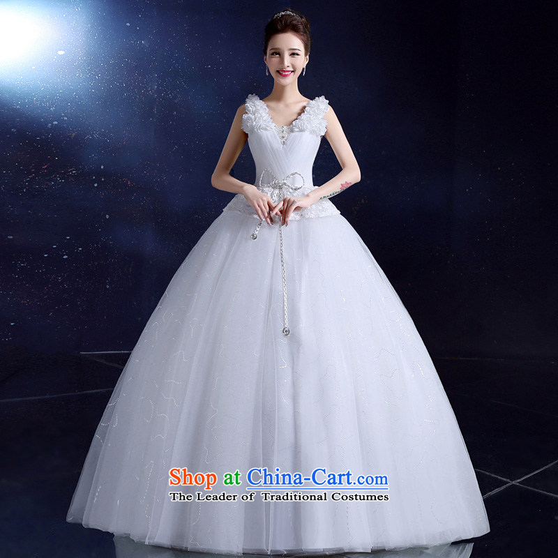 The privilege of serving-leung wedding dresses to align the new 2015 wedding shoulders deep V-Neck Bow Tie Korean anointed chest White?XXL Sau San
