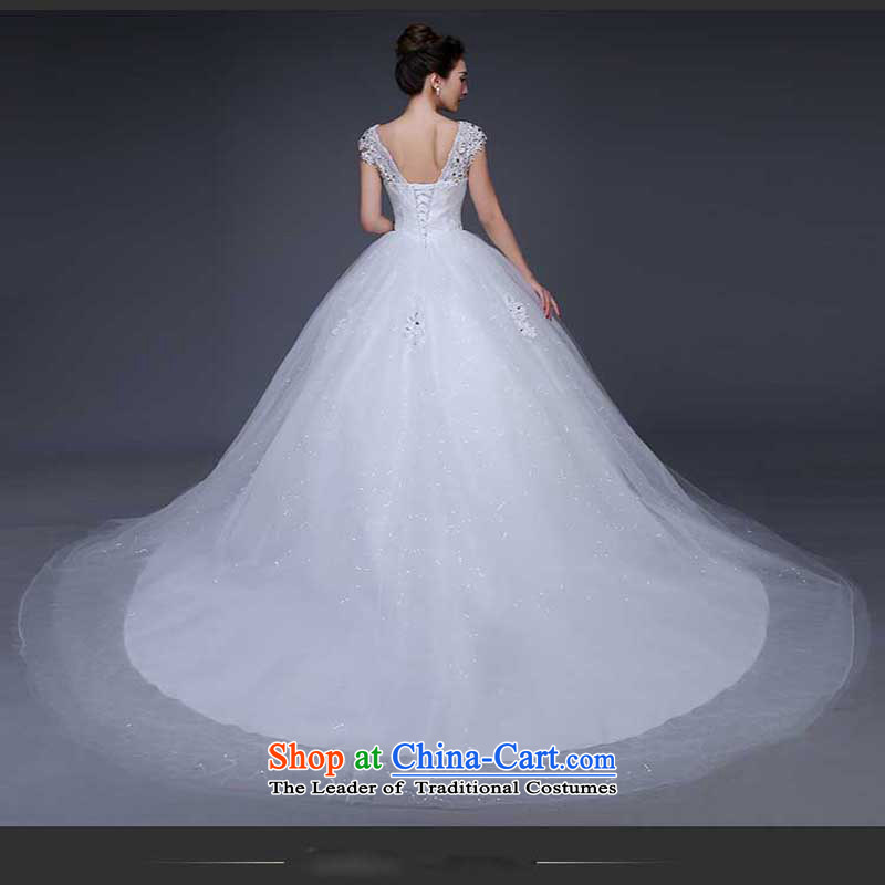 Pure Love bamboo yarn wedding dresses new Word 2015 Spring bride shoulder wedding shoulders to align the large Korean v-neck video thin white streaks in the summer聽S