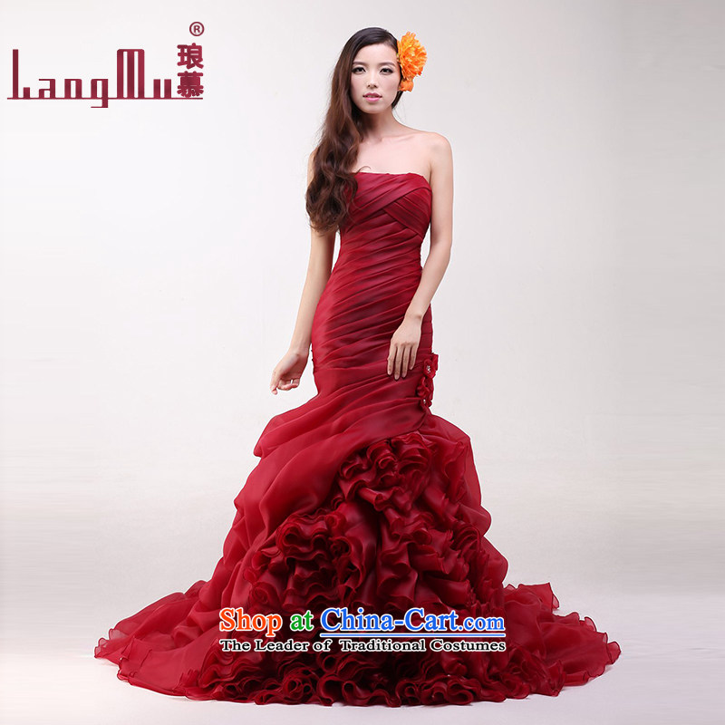 The?new 2015 Luang bride anointed chest straps wedding tail Foutune of video thin crowsfoot wedding customised wine red Advanced Customization