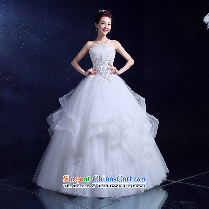 The privilege of serving-leung in spring and summer 2015 new Korean wiping the chest to align graphics thin wedding multi-level bride wedding dress White聽XXL