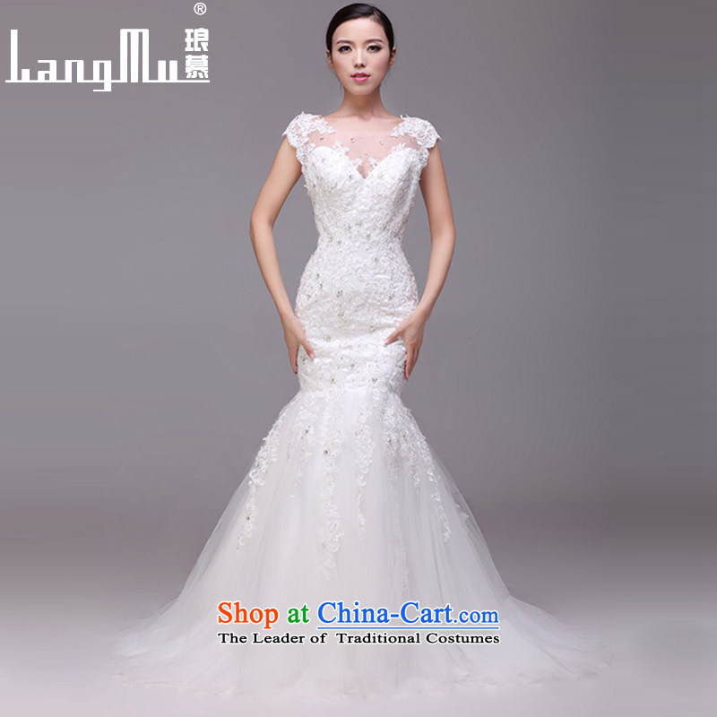 The?new 2015 evaluation of wedding dresses and stylish back crowsfoot shoulders bride wedding customised m White Advanced Customization