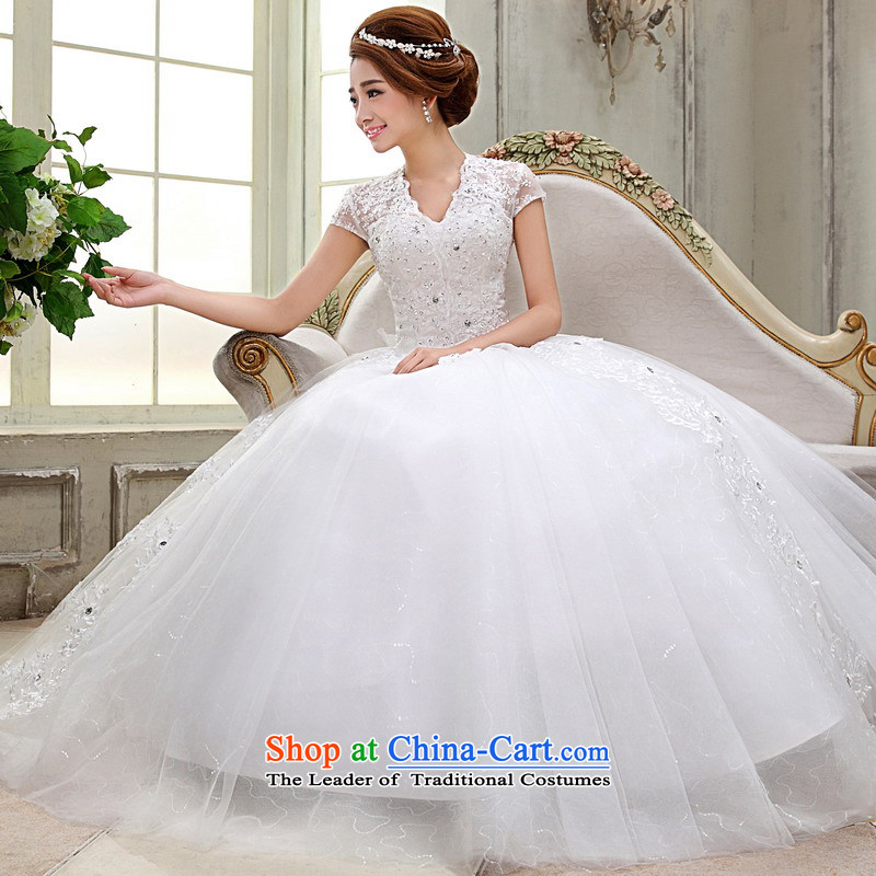 Mrs Alexa Lam roundup new word shoulder wedding dresses Korean short-sleeved bon bon skirt video thin package shoulder bride wedding dress 66682 White聽XL