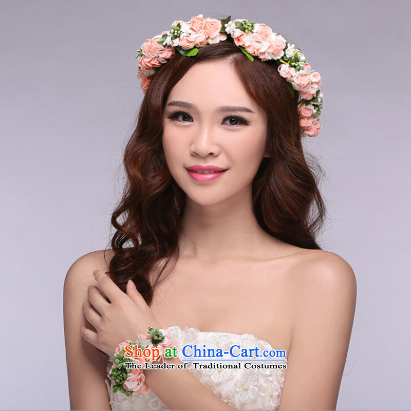Dancsy Texaco Road bride wedding dresses accessories Korean bridal ring and the bride jewelry and ornaments wedding dresses accessories collar Head Ornaments Kit pink are code