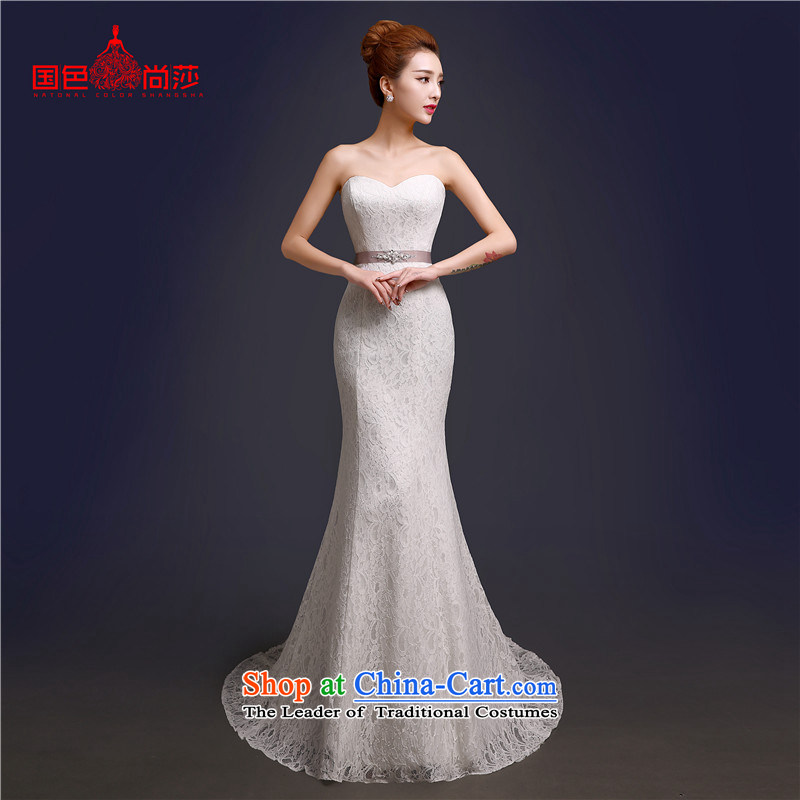 The bride wedding dresses 2015 new autumn and winter Sau San Korean shoulders a simple word shoulder crowsfoot wedding summer tail white high-end up doing pro-contact customer care MM