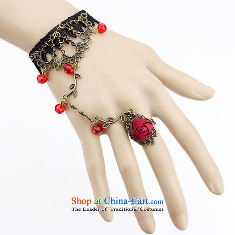 Dancsy Texaco Road bride wedding dresses accessories continental palace original antique red lace hand chain with ring bride gothic wind Jewelry Ornaments female hand chain green crystal are code, Texaco Road (donqegoodal dancsy) , , , shopping on the Int