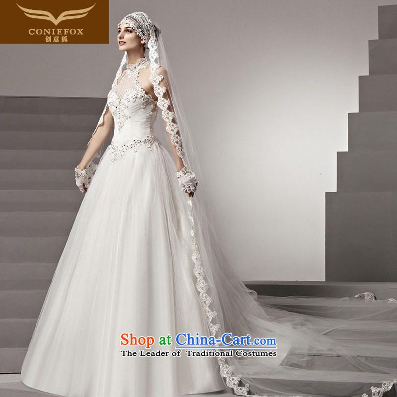 The kitsune high-end Custom Creative wedding dressesstylish hang history 2015 wedding Top Loin video thin white wedding bon bon dragging wedding 90168 tailored White