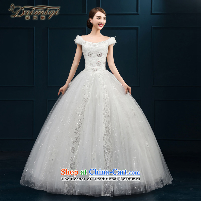 2015 wedding dresses new bride first field lace luxurious ornaments shoulder Korean to align bon bon yarn White�XL