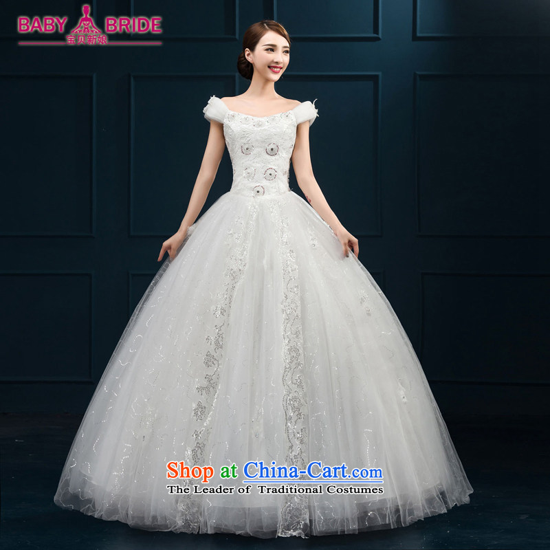 2015 wedding dresses new bride first field lace luxurious ornaments shoulder Korean to align bon bon yarn white?S