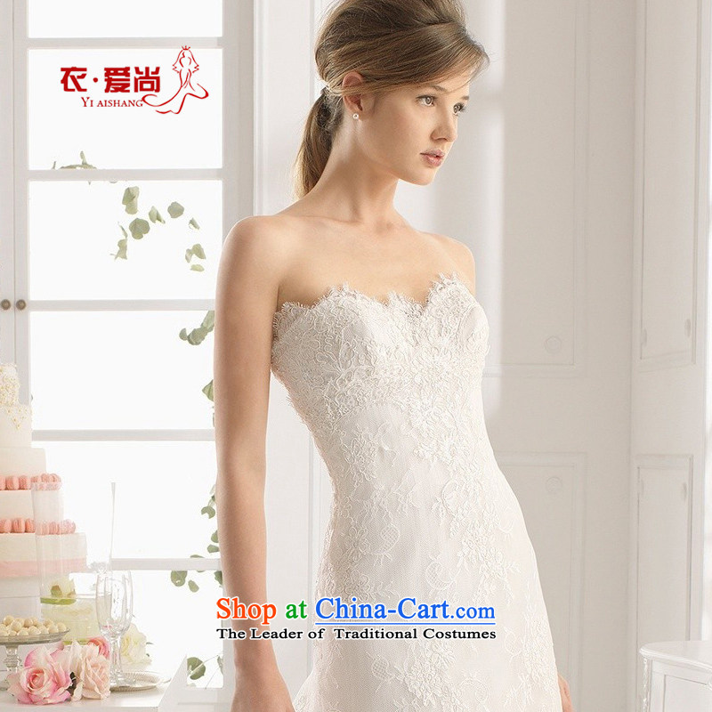 Yi is the spring and summer of 2015, love the new tissue chest marriage wedding dresses bride wedding video thin crowsfoot tail Sau San lace anointed chest_ female white聽L