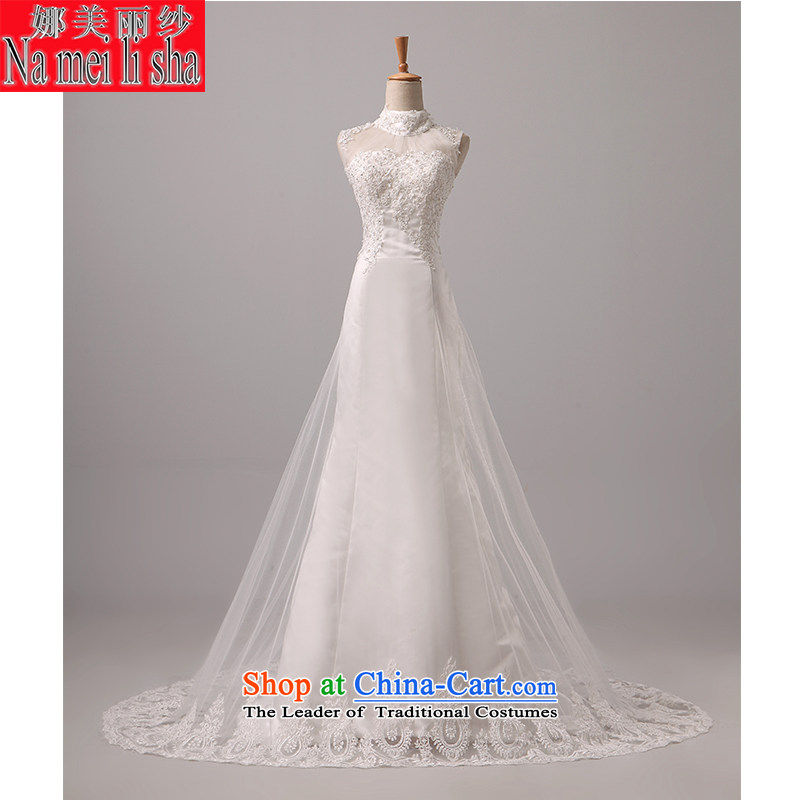 The beautiful bride yarn and small package tail Wedding 2015 new products shoulders back video thin Sau San tie marriages crowsfoot lace wedding code made white L