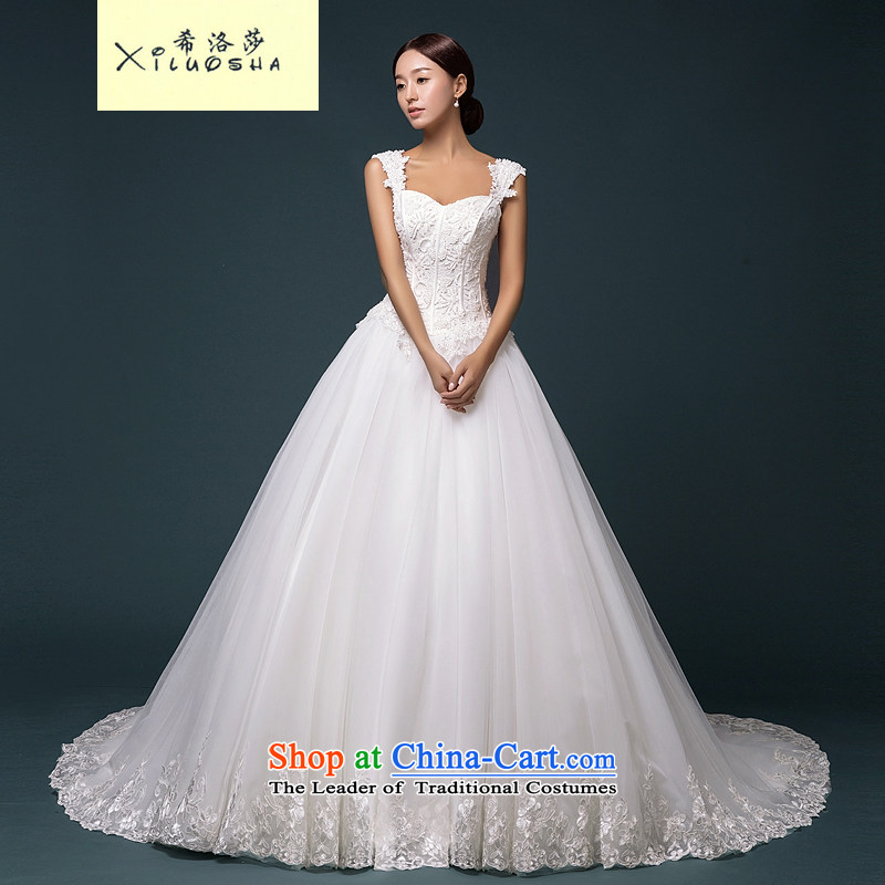 Hillo Lisa _XILUOSHA_ shoulder straps marriages Wedding 2015 new luxury diamond bride high-end wedding dresses wedding custom White?XL