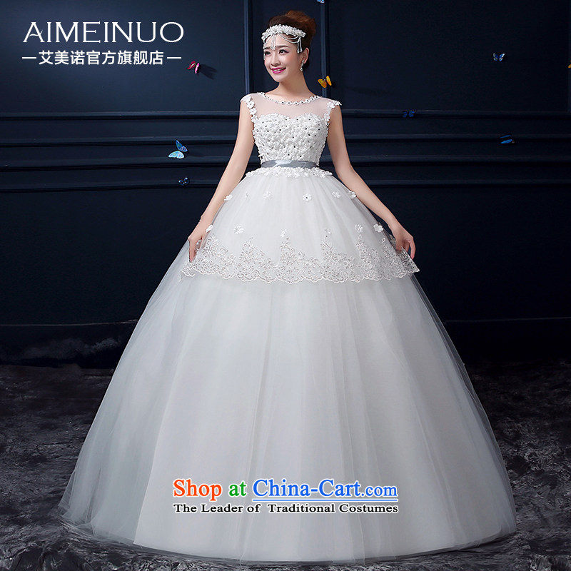Hiv Miele Wedding 2015 Summer new round-neck collar double shoulder higher waist manually align the bride to pregnant women flowers princess wedding�A15BH94�white�S (�waist a foot 9�)