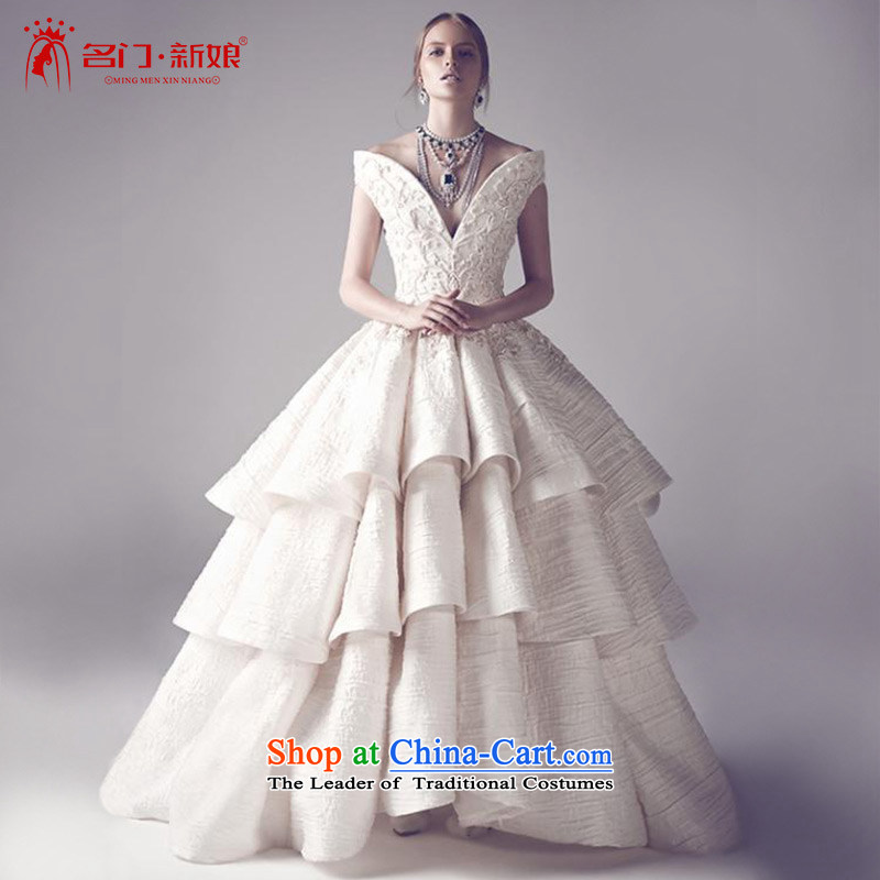 A bride wedding dresses new high-end 2015 design tail wedding slotted shoulder?2596?tailored plus 20_