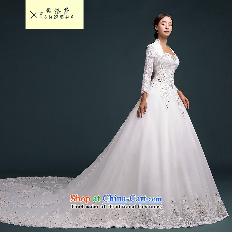 Hillo XILUOSHA_ Lisa _bride wedding two kits wedding wiping the chest, the major new 2015 long-sleeved tail high-end custom wedding privilege of?XL