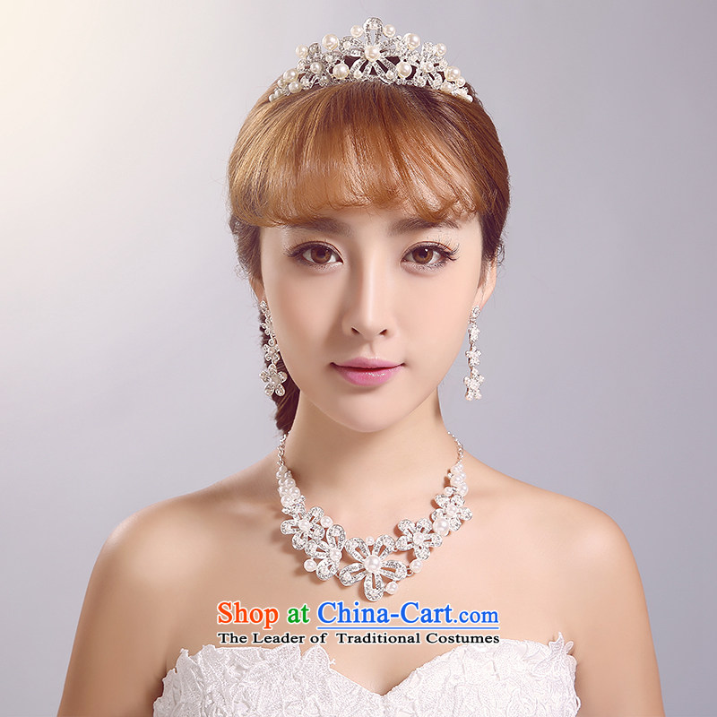 Ferrara聽2015 new bride wedding head ornaments with wedding accessories white floor jewelry shooting supplies wedding dresses necklaces, earrings kit
