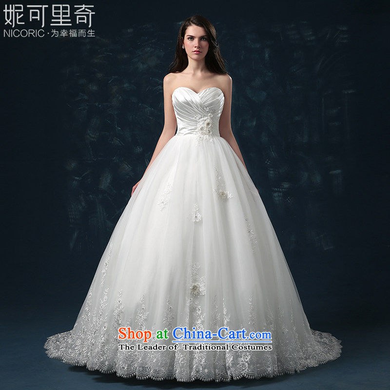 Wedding dress 2015 new bride of autumn and winter and sexy wiping the chest straps wedding flower wedding long tail Sau San for high-end custom white�XL( Quality Assurance)