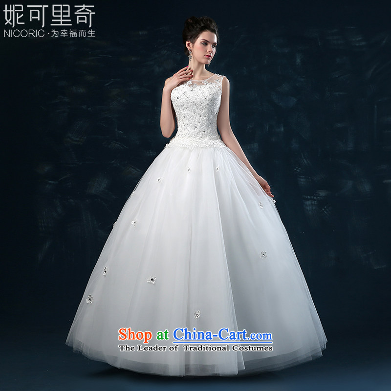 Wedding dress of autumn and winter 2015 new bride lace shoulders wedding flower diamond straps to align the large wedding?day L(7 white Sau San no reason to return)