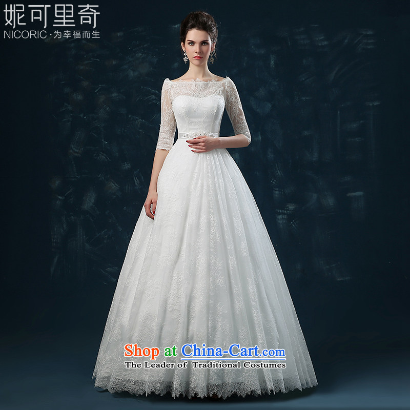 Wedding dress 2015 new word of autumn and winter shoulder bride wedding lace in cuff straps to align the wedding wedding white S(3-5 Sau San day shipping)
