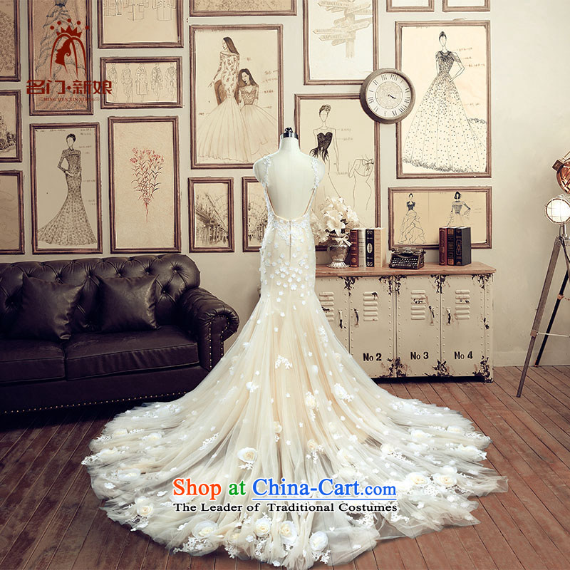 A bride evening dresses 2015 new wedding tail crowsfoot wedding champagne color manually take A of the 2606 L pre-sale 7 Days