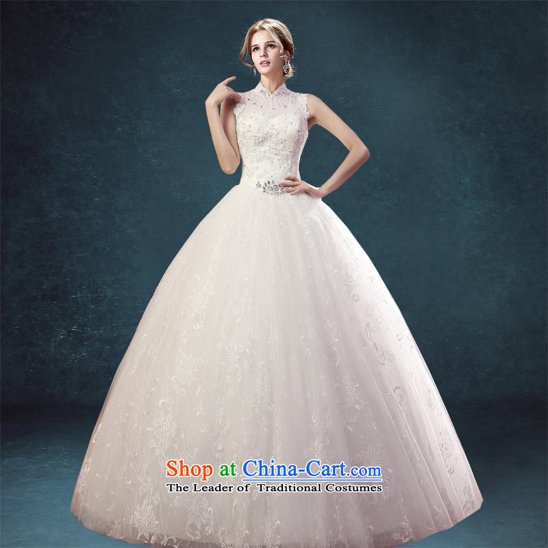 Each new stylish Korea Connie version collar package shoulder wedding dresses of the US-ROK Sau San video straps to align the thin high collar lace white�L