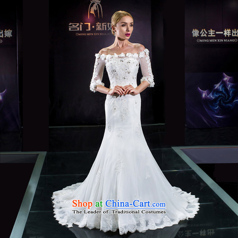 A bride wedding dresses new 2015 wedding tail crowsfoot wedding original design 258.2 white聽L